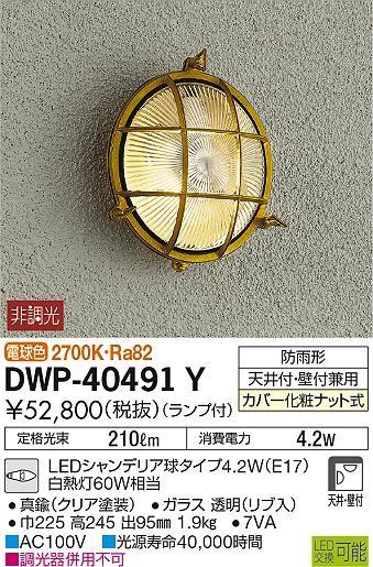 【最安値挑戦中!最大34倍】大光電機(DAIKO) DWP-40491Y アウトドアライト ランプ付 非調光 電球色 真鍮 防雨形 天井付・壁付兼用 [∽]