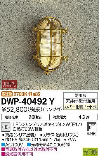 【最安値挑戦中!最大34倍】大光電機(DAIKO) DWP-40492Y アウトドアライト ランプ付 非調光 電球色 真鍮 防雨形 天井付・壁付兼用 [∽]