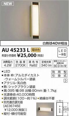 【最安値挑戦中!最大34倍】コイズミ照明 AU45233L ポーチライト 天井直付・壁 ブラケットライト LED一体型 電球色 防雨型 [(^^)]