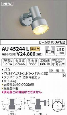 【最安値挑戦中!最大34倍】コイズミ照明 AU45244L アウトドアスポットライト LED一体型 電球色 防雨型 シルバーメタリック [(^^)]