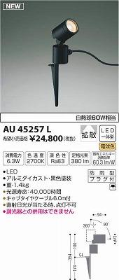 【最安値挑戦中!最大34倍】コイズミ照明 AU45257L アウトドアスパイクスポットライト LED一体型 電球色 拡散 防雨型 ブラック [(^^)]