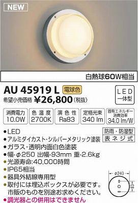 【最安値挑戦中!最大34倍】コイズミ照明 AU45919L ポーチライト 壁 ブラケットライト LED一体型 電球色 防雨・防湿型 シルバーメタリック [(^^)]