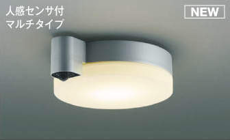 【最安値挑戦中!最大25倍】コイズミ照明 AU50481 アウトドアライト LED一体型 非調光 電球色 防雨型 ねじ込式 人感センサ付 マルチタイプ シルバー