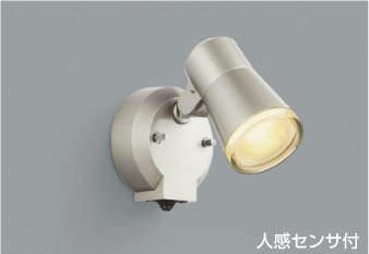 【最安値挑戦中!最大25倍】コイズミ照明 AUE640556 アウトドアスポットライト 人感センサ付 タイマー付ON-OFF LED付 電球色 白熱球60W相当 防雨 シルバー