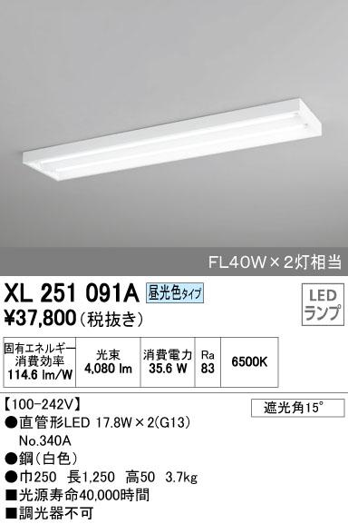 【最安値挑戦中!最大34倍】照明器具 オーデリック XL251091A(ランプ別梱) ベースライト 直管形LEDランプ 直付型 下面開放型 2灯用 昼光色 [(^^)]