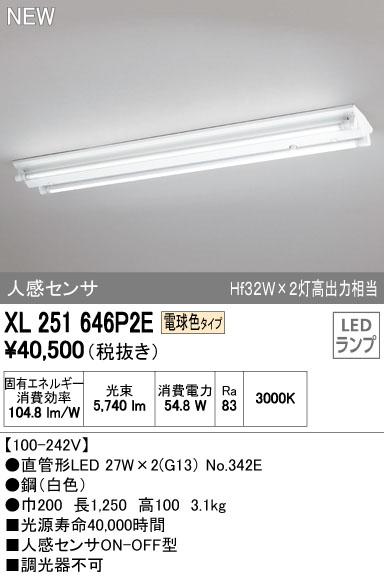 【最安値挑戦中!最大34倍】照明器具 オーデリック XL251646P2E(ランプ別梱) ベースライト 直管形LEDランプ 直付型 逆冨士型(人感センサ) 2灯用 電球色 [(^^)]