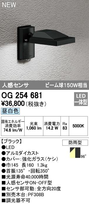 【最安値挑戦中!最大34倍】オーデリック OG254681 エクステリアスポットライト LED一体型 昼白色 人感センサ 防雨型 ブラック [∀(^^)]