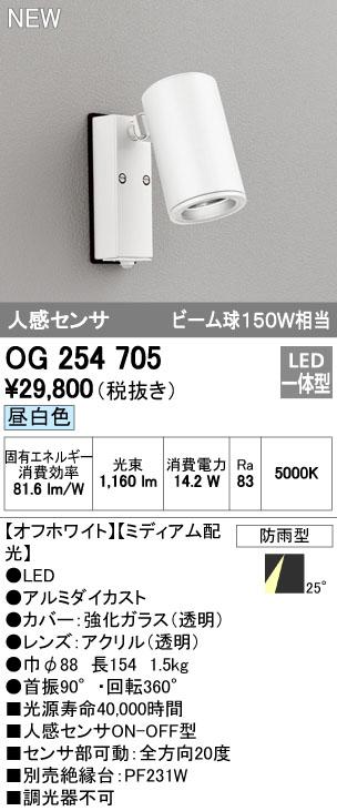 【最安値挑戦中!最大34倍】オーデリック OG254705 エクステリアスポットライト LED一体型 昼白色 人感センサ ミディアム配光 防雨型 [∀(^^)]