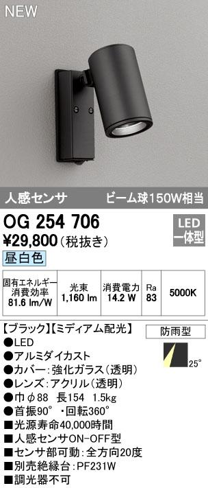 【最安値挑戦中!最大34倍】オーデリック OG254706 エクステリアスポットライト LED一体型 昼白色 人感センサ ミディアム配光 防雨型 [∀(^^)]