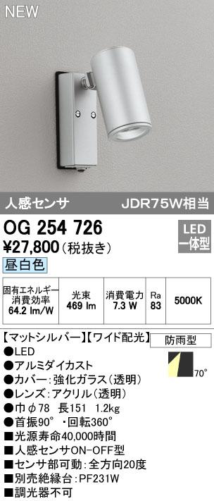 【最安値挑戦中!最大34倍】オーデリック OG254726 エクステリアスポットライト LED一体型 昼白色 人感センサ ワイド配光 防雨型 [∀(^^)]