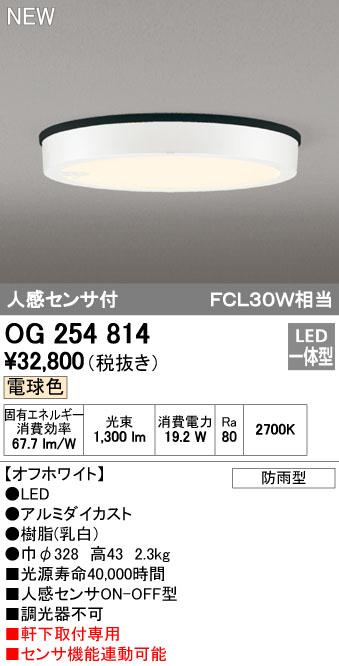 【最安値挑戦中!最大34倍】オーデリック OG254814 エクステリアダウンライト LED一体型 人感センサON-OFF 電球色 オフホワイト 防雨型 [(^^)]