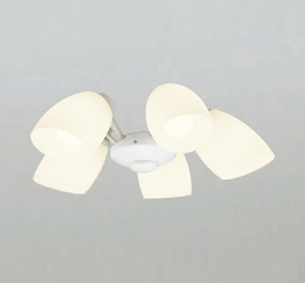 【最安値挑戦中!最大25倍】オーデリック WF804LC1(ランプ別梱) シーリングファン LEDランプ 連続調光 電球色 乳白ケシガラス・5灯 オフホワイト ~6畳