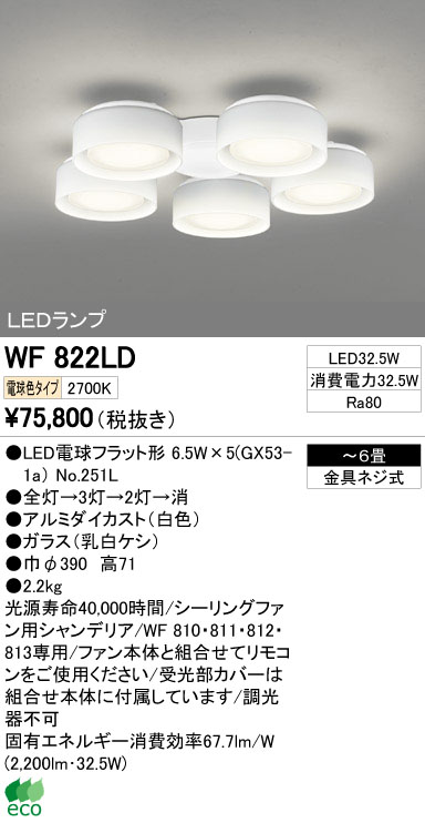 【最安値挑戦中!最大34倍】シーリングファン オーデリック WF822LD LED電球フラット形 電球色 LEDランプ [∀(^^)]
