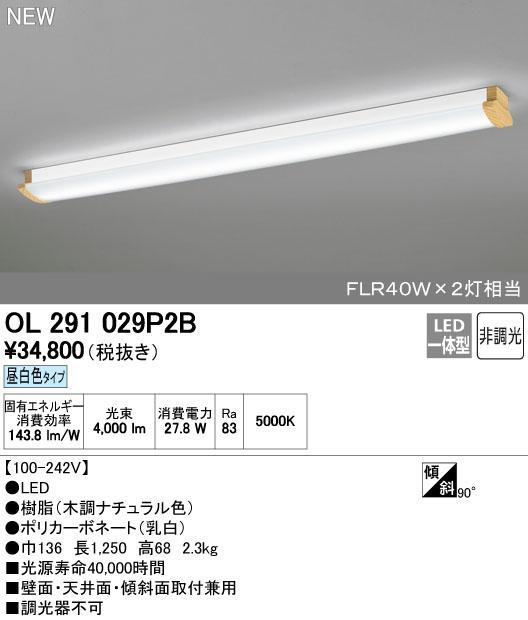 【最安値挑戦中!最大34倍】オーデリック OL291029P2B(LEDユニット別梱) ブラケット キッチンライト LED一体型 昼白色 非調光 FLR40W×2灯相当 [∀(^^)]