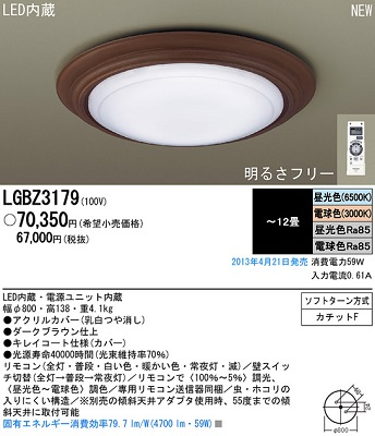 【最安値挑戦中!最大34倍】照明器具 パナソニック LGBZ3179 シーリングライト 天井直付型 LED リモコン調光・リモコン調色 ~12畳 ランプ同梱包 [∀∽]