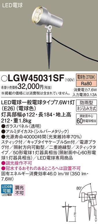 【最安値挑戦中!最大34倍】パナソニック LGW45031SF 屋外用ライト スポットライト 地中埋込型 LED(電球色) 防雨型 パネル付型/スティック付 [∀∽]