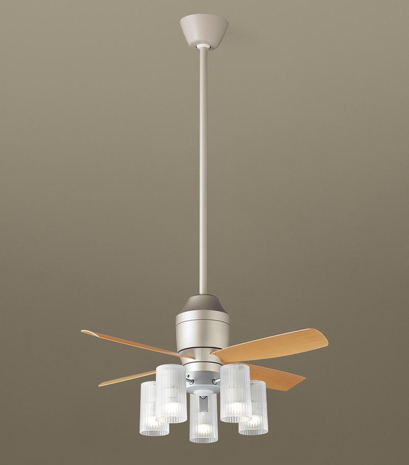 【最安値挑戦中!最大24倍】パナソニック XS77113Z シーリングファン(照明器具付) 直付吊下型 LED(電球色) 5W 60形5灯 ~10畳 パイプ長さ900mm [∽]