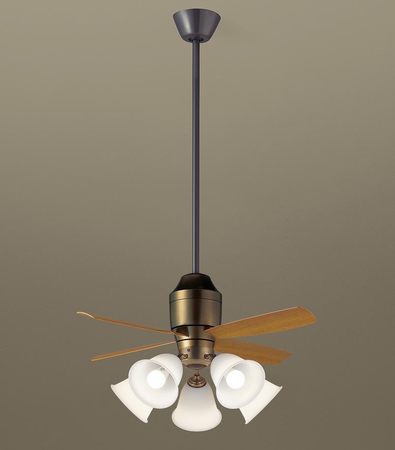 【最安値挑戦中!最大34倍】パナソニック XS78142 シーリングファン 直付吊下型 LED(電球色) 照明器具付 100形電球5灯相当・5W ~14畳 ランプ同梱包 [∽]