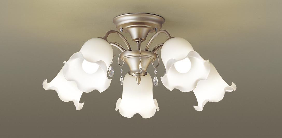 【最安値挑戦中!最大34倍】パナソニック LGB57542K シャンデリア 天井直付型 LED(電球色) 白熱電球60形5灯器具相当 ~10畳 [∀∽]