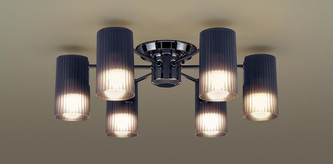 【最安値挑戦中!最大34倍】パナソニック LGB57671K シャンデリア 天井直付型LED(電球色) 60形電球6灯器具相当 スモーク [∀∽]