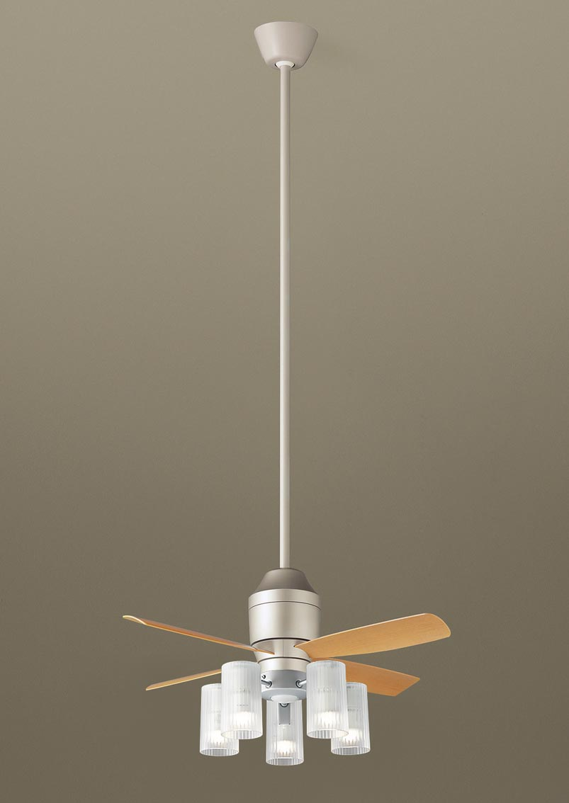 【最安値挑戦中!最大34倍】パナソニック XS77513Z シーリングファン(照明器具付) 直付吊下型 LED(電球色) 5W 60形5灯 ~10畳 パイプ長さ1500mm [∽]