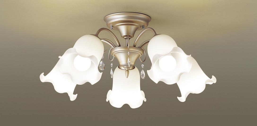 最安値挑戦中 最大25倍 パナソニック 賜物 LGB57582K シャンデリア 割引も実施中 天井直付型 LED 電球色 白熱電球100形5灯器具相当 ~14畳 Uライト方式 ペールゴールド