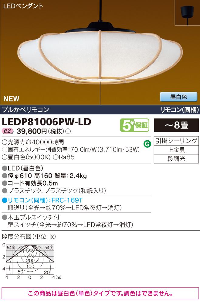【最安値挑戦中!最大33倍】東芝 LEDP81006PW-LD 天井照明 ペンダントライト 和風 LED(昼白色) プルかべリモコン リモコン(同梱) ~8畳 [□]