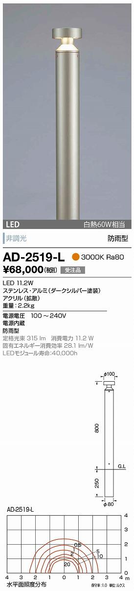 【最安値挑戦中!最大33倍】山田照明(YAMADA) AD-2519-L ガーデンライト LED一体型 非調光 電球色 防雨型 ダークシルバー 受注生産品 [∽§]