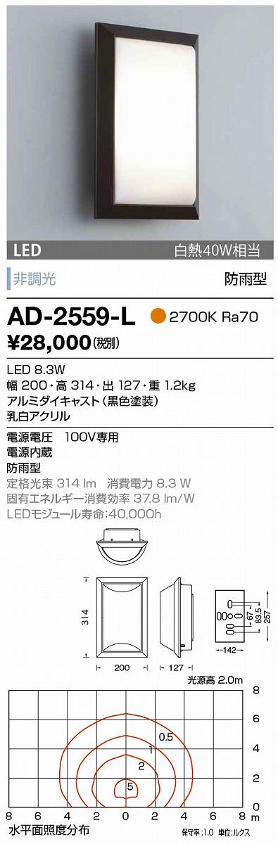 【最安値挑戦中!最大33倍】山田照明(YAMADA) AD-2559-L エクステリアブラケット LED一体型 非調光 電球色 防雨型 [∽]