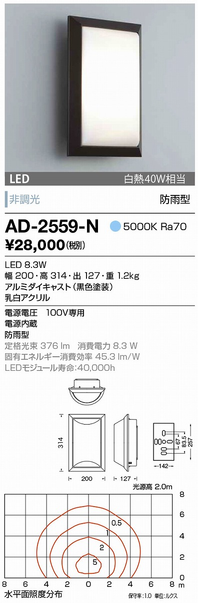 【最安値挑戦中!最大34倍】山田照明(YAMADA) AD-2559-N エクステリアブラケット LED一体型 非調光 昼白色 防雨型 [∽]