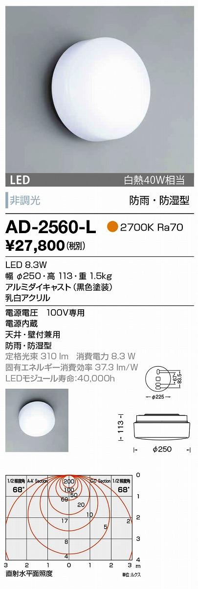 【最安値挑戦中!最大33倍】山田照明(YAMADA) AD-2560-L エクステリアブラケット LED一体型 非調光 電球色 防雨・防湿型 天井・壁付兼用 [∽]