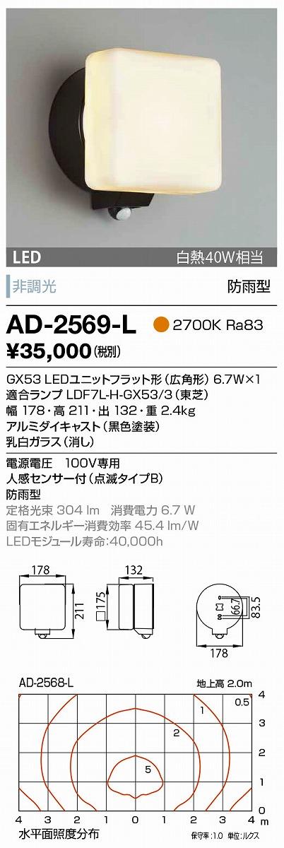 【最安値挑戦中!最大34倍】山田照明(YAMADA) AD-2569-L エクステリアブラケット LEDランプ交換型 非調光 人感センサー付 電球色 防雨型 ブラック [∽]