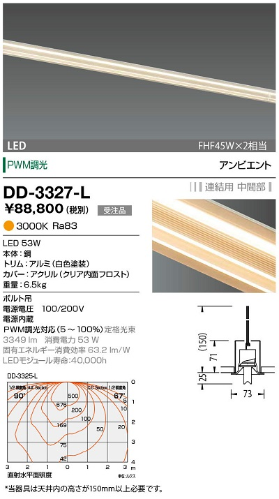 LED一体型ベースライト PWM調光 【最安値挑戦中!最大34倍】山田照明(YAMADA) 電球色 [∽§] 受注生産品 中間部 連結用 DD-3327-L