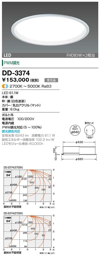 【最安値挑戦中!最大23倍】山田照明(YAMADA) DD-3374 LED一体型ベースライト PWM調光・調色 天井切込穴φ640 受注生産品 [∽§]