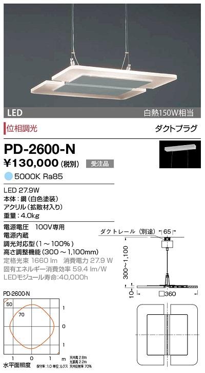 【最安値挑戦中!最大24倍】山田照明(YAMADA) PD-2600-N アンビエント LED一体型 昼白色 位相調光 ダクトタイプ 受注生産品 [∽§]
