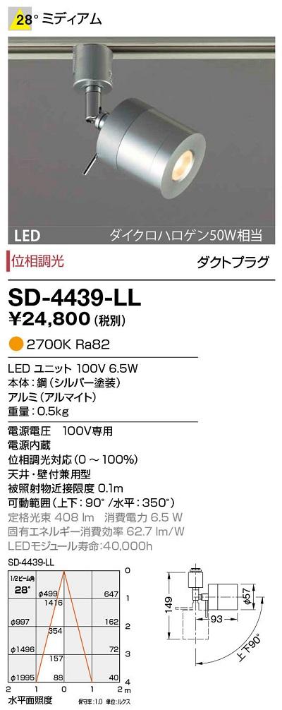 【最安値挑戦中!最大34倍】山田照明(YAMADA) SD-4439-LL ダウンライト LED一体型 位相調光 電球色 ダクトタイプ 配光28° [∽]