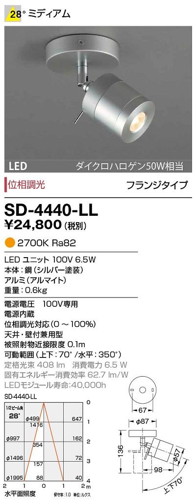 【最安値挑戦中!最大34倍】山田照明(YAMADA) SD-4440-LL ダウンライト LED一体型 位相調光 電球色 配光28° [∽]