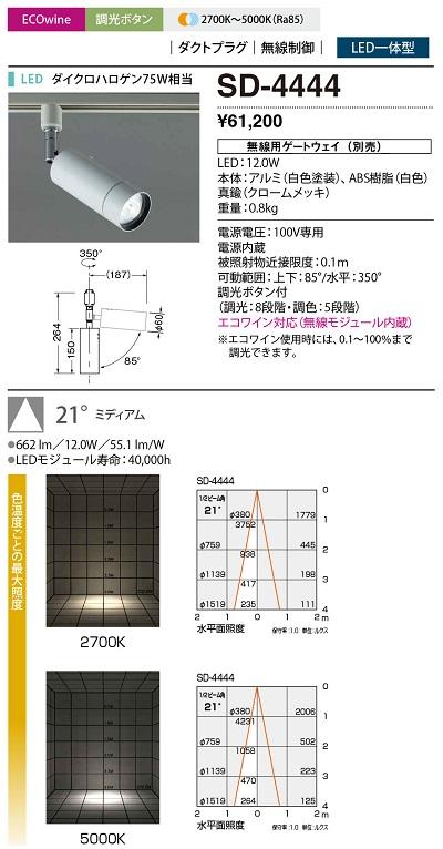 【最安値挑戦中!最大34倍】山田照明(YAMADA) SD-4444 ダウンライト LED一体型 調色 ダクトタイプ ボリューム・スイッチ調光 配光21° [∽]