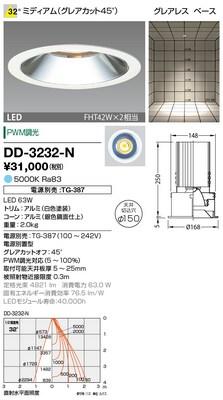 【最安値挑戦中!最大34倍】山田照明(YAMADA) DD-3232-N ダウンライト LED一体型 PWM調光 昼白色 配光32° 電源別売 [∽]