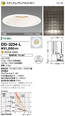 【最安値挑戦中!最大34倍】山田照明(YAMADA) DD-3234-L ダウンライト LED一体型 PWM調光 電球色 配光32° 電源別売 [∽]
