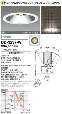 【最安値挑戦中!最大34倍】山田照明(YAMADA) DD-3237-W ダウンライト LED一体型 PWM調光 白色 配光32° 電源別売 [∽]