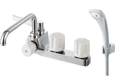 【最安値挑戦中!最大25倍】水栓金具 三栄水栓 SK71041L-LH-13 U-MIX ツーバルブデッキシャワー混合栓(一時止水) バスルーム用 [□]