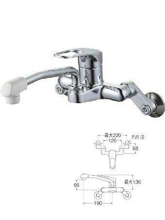 【最安値挑戦中!最大34倍】水栓金具 三栄水栓 K27CD-13 シングル混合栓 キッチン用 壁付シングルレバー式 節水水栓 [□]