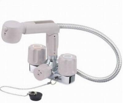 【最安値挑戦中!最大25倍】水栓金具 三栄水栓 K3104KR-LH-13 寒冷地 ツーバルブスプレー混合栓(洗髪用) [□]