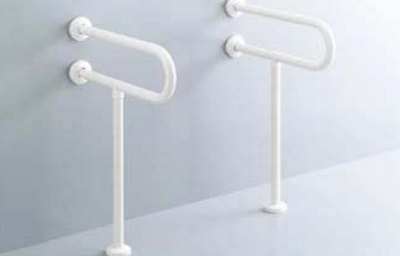 【最安値挑戦中!最大25倍】INAX KF-312AE55 洗面器用手すり(壁床固定式) 樹脂被覆タイプ D=550 D1=250 [□]