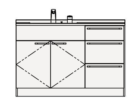 【最安値挑戦中!最大33倍】クリナップ 洗面化粧台 BAML122NMC Tiarisティアリス 間口120cm 引出しタイプ(R/L) スタンダードレールH80cm 高さ84cm [♪△]