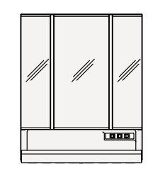 【まいどDIY】クリナップ ミラーキャビネット M-753SRNW S(エス) 間口75cm スキンケア3面鏡 LED 奥行15.4cm 高さ90cm [♪△]