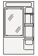 【まいどDIY】クリナップ ミラーキャビネット(1面鏡) M-601HVH BTSシリーズ 間口60cm 蛍光灯 奥行15.5cm 高さ101cm [♪△]