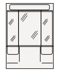 【まいどDIY】クリナップ ミラーキャビネット(2・3面鏡) M-753HVH BTSシリーズ 間口75cm 蛍光灯 奥行15.5cm 高さ101cm [♪△]