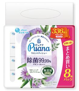 大王製紙 ラッピング無料 Puana エリエールピュアナ ウエットティシュー 42枚×8個 除菌99.99% 詰替 《週末限定タイムセール》 アルコールタイプ